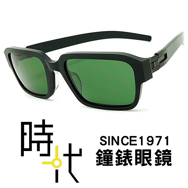 【台南 時代眼鏡 ic! berlin】M6 marzahn black 薄鋼 無螺絲 方框墨鏡 太陽眼鏡 綠色鏡片 黑框 53mm