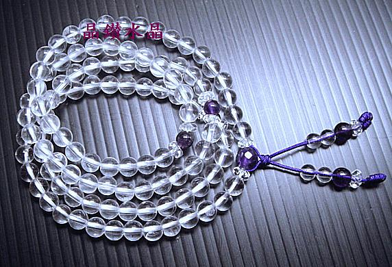 『晶鑽水晶』天然白水晶手鍊 108顆佛珠*質感超優*還可纏在手腕上配戴唷.送禮物佳選