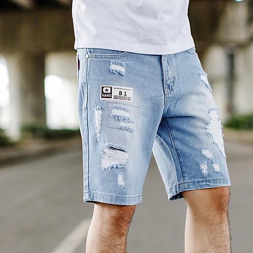 短褲 淺藍刷白抓破牛仔短褲【NB0636J】
