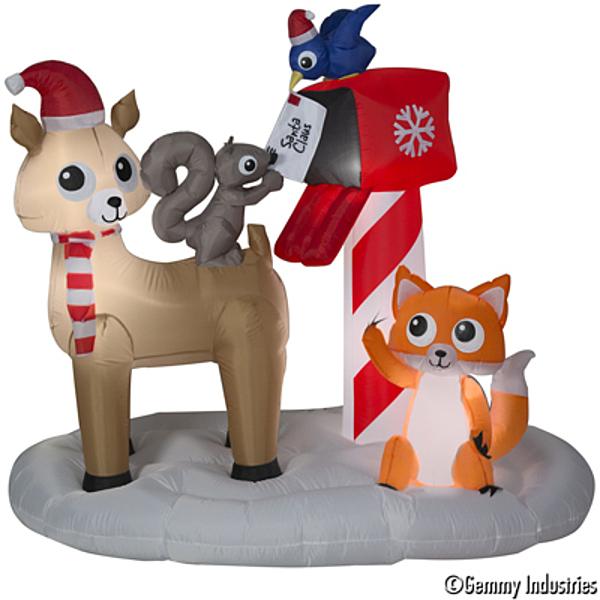 節慶王【X007911】183cm充氣小動物們寄信给老公公場景,聖誕佈置/充氣擺飾好收納/聖誕充氣