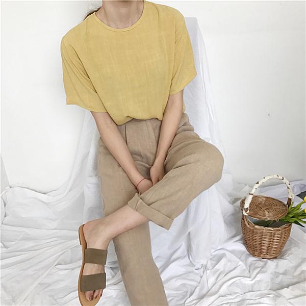[超豐國際]女裝夏季寬松極簡純色半袖薄款透視罩衫文藝小清新棉1入