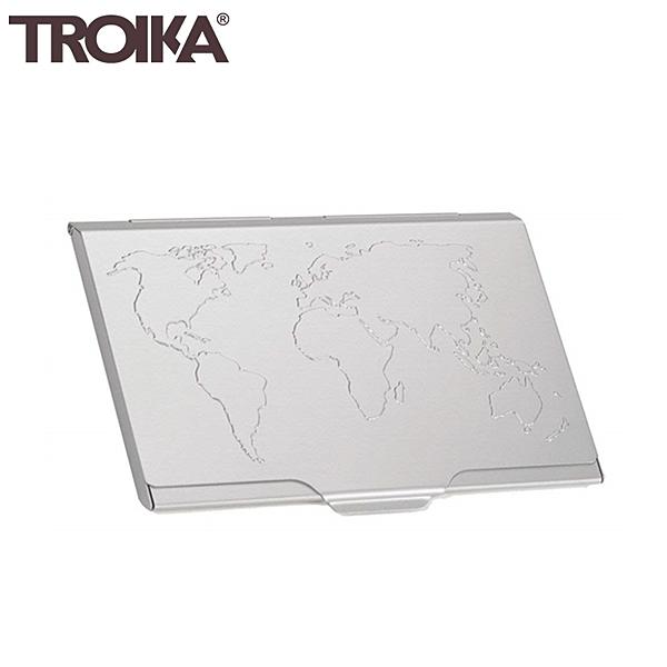又敗家@德國TROIKA世界地圖防RFID夾名片夾信用卡夾CDC15-02/AL質感名片盒防感應卡夾防NFC側錄輕薄隨身