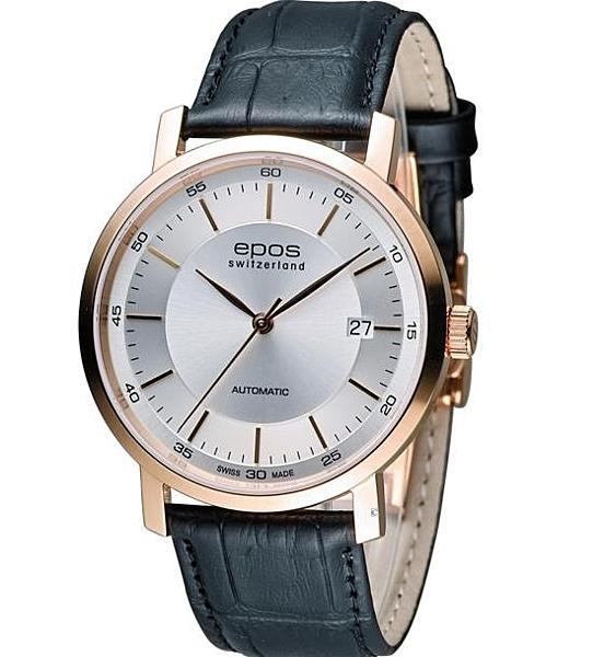 EPOS Originale 原創系列3387.152.24.18.15FB 都會紳士機械錶白/玫瑰金色39mm