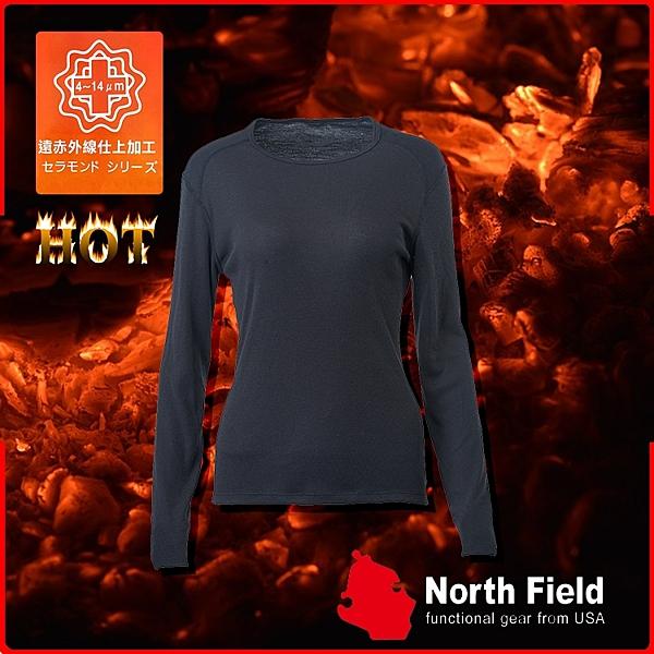 【North Field美國 女 圓領遠外線內衣《岩黑》】205B/保暖衣/發熱衣/膠原蛋白/吸濕排汗/親膚