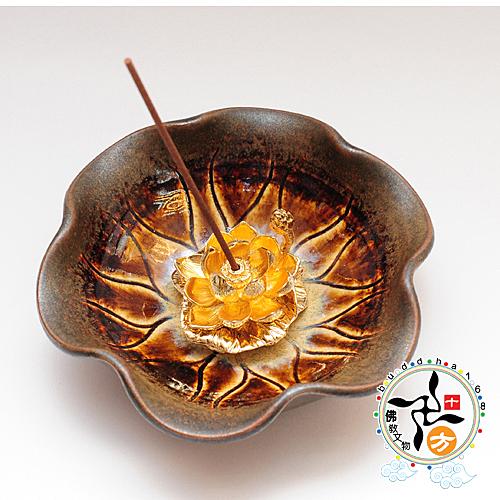 金蓮插香座+荷葉陶盤 【十方佛教文物】
