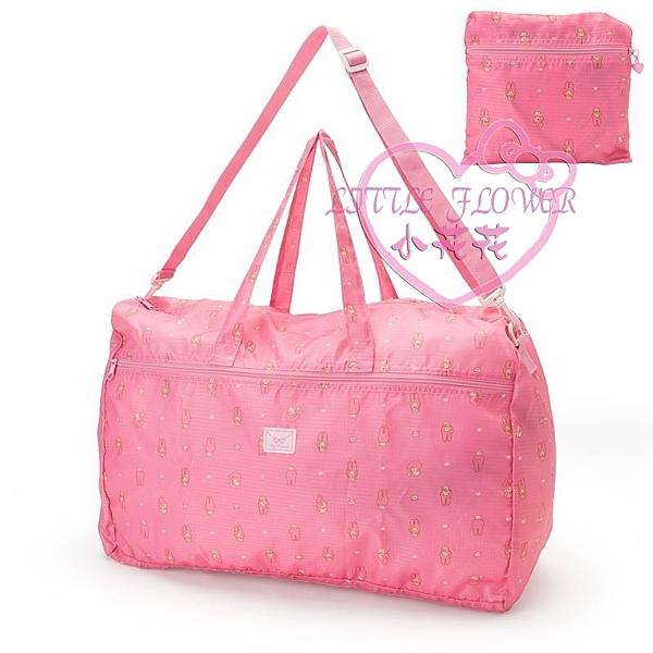 小花花日本精品♥ Melody美樂蒂滿版粉色可收納大提袋大型手提袋輕便行李袋旅行袋 41131008