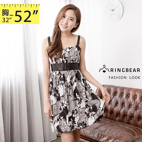 洋裝--夏天的風味緞面蝴蝶結壓摺扶桑花朵無袖洋裝/長上衣(S-2L)-D307眼圈熊中大尺碼