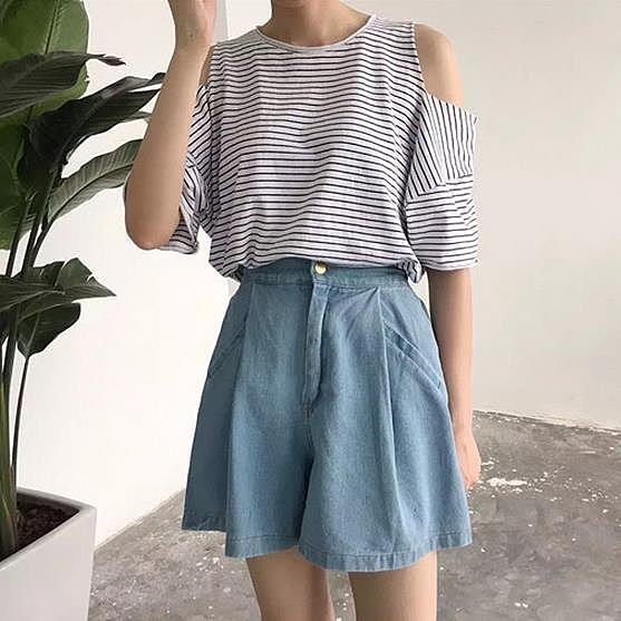 [超豐國際]春裝女裝寬松顯瘦闊腿牛仔短褲高腰蓬蓬裙學生A字裙1入
