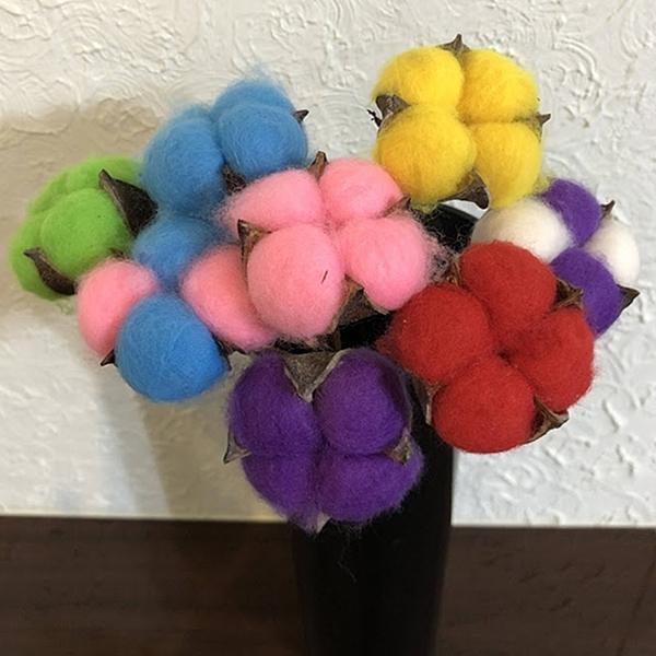 永生花花材 ,彩色四瓣棉花,長度約25-30公分,一支