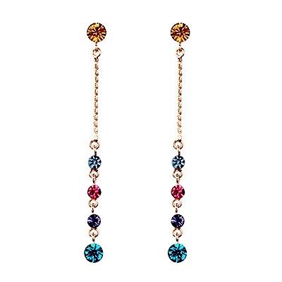 耳環 玫瑰金 925純銀鑲鑽-絢麗流蘇生日情人節禮物女飾品73gs147【時尚巴黎】