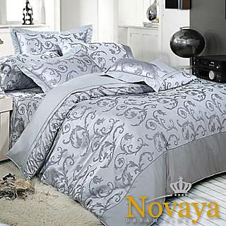 【Novaya‧諾曼亞】《威靈頓》精品緹花貢緞精梳棉雙人床包兩用被四件組