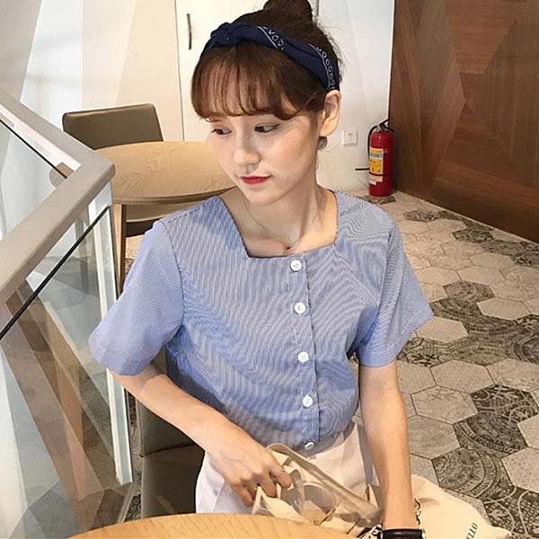 [超豐國際]時尚夏季甜美學院風寬松顯瘦方領條紋短袖襯衫學生上1入