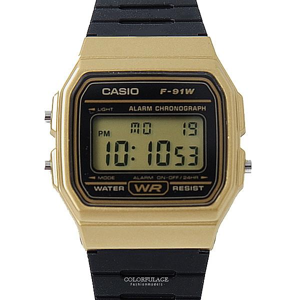 CASIO卡西歐黑金外框電子膠錶 柒彩年代【NEC33】