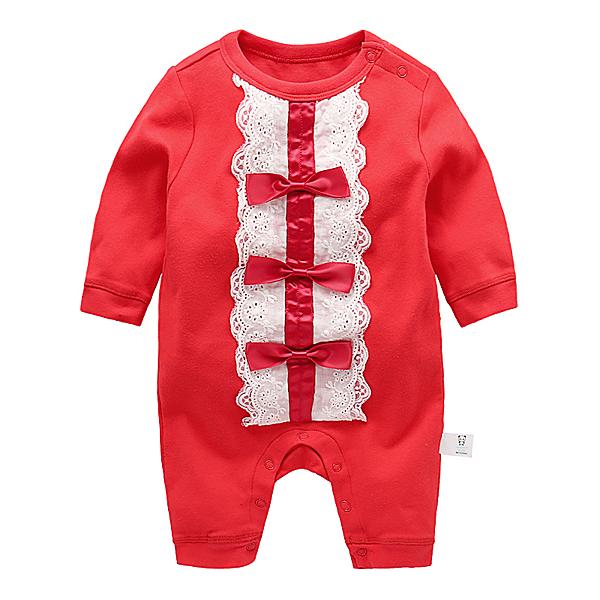女寶寶長袖兔裝 公主風連身衣 紅蝴蝶結   韓版童裝 (嬰幼兒/兒童/小孩)
