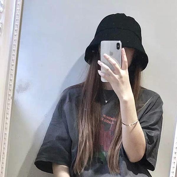 帽子 日本ins復古黑色水桶漁夫帽學生小眾圓臉鐘形帽子女夏韓版潮 莎瓦迪卡