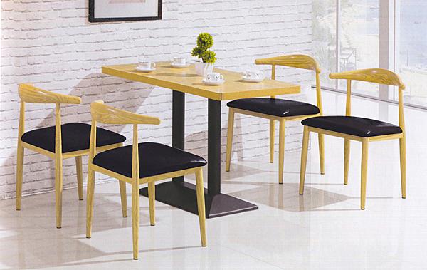 【IS空間美學】鐵藝仿原木色桌椅組 一桌四椅