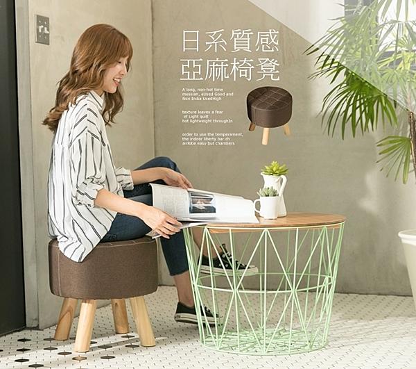 【IDEA】無印風亞麻布圓凳 實木椅 矮凳 腳凳 軟凳 布椅 穿鞋椅 茶几 沙發 小椅子 休閒椅【TO-007】