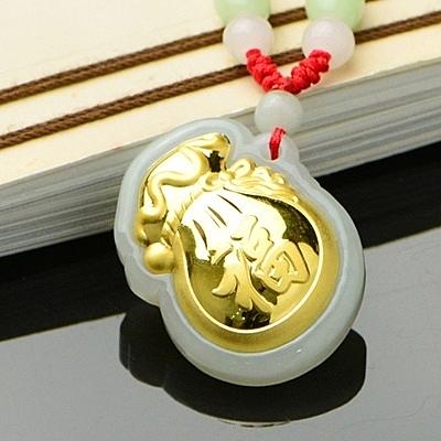 金鑲玉項鍊 和闐玉吊墜-精緻大方生日情人節禮物男女飾品7款73gf66【時尚巴黎】
