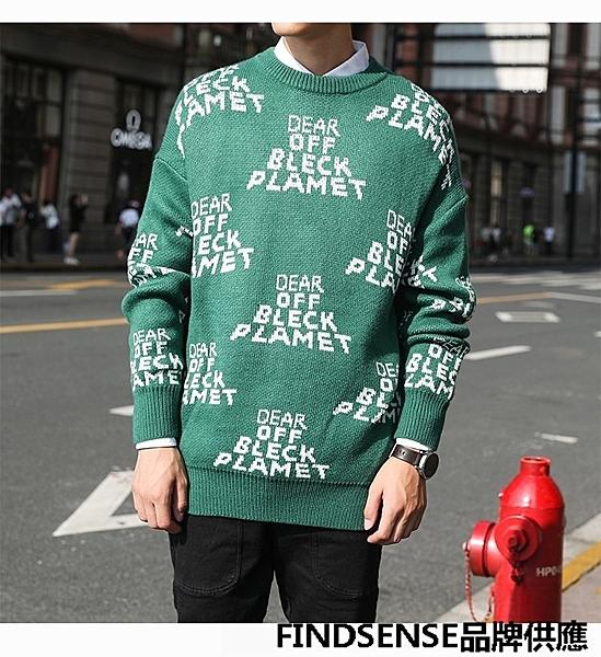 FINDSENSE品牌 秋冬款 新款 日本 男 高品質 個性 時尚字母 毛衣 大