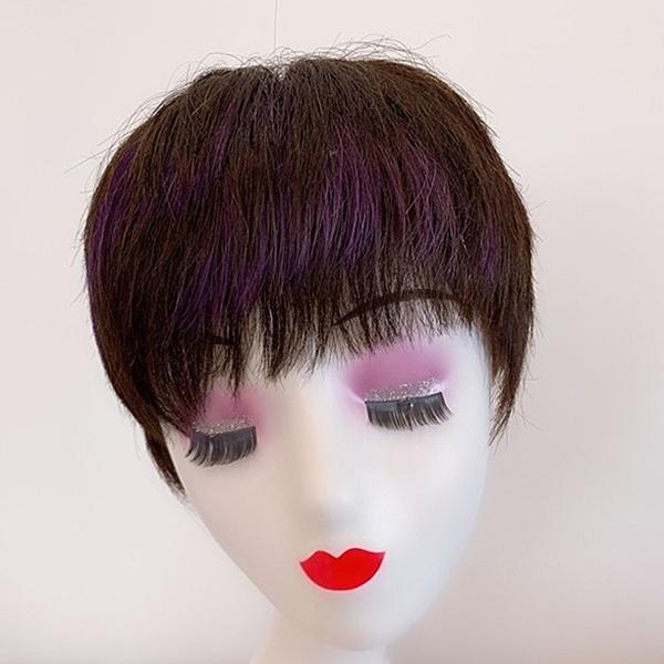短假髮(整頂真髮絲)挑染瀏海直髮自然女假髮2色73vr13【時尚巴黎】
