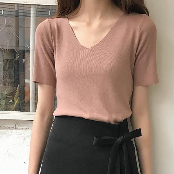[超豐國際]夏裝休閑百搭V領針織衫女套頭短袖薄款打底衫女夏1入