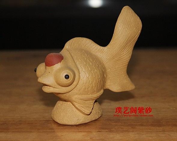 【協貿國際】茶玩擺件紫砂茶盤茶寵鴻運當頭魚