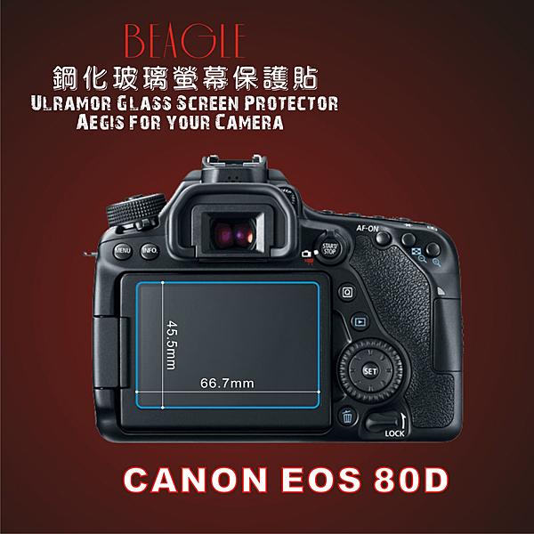 (BEAGLE)鋼化玻璃螢幕保護貼 CANON EOS 80D專用-可觸控-抗指紋油汙-耐刮硬度9H-防爆-台灣製(2片式)