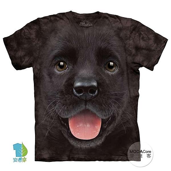 【摩達客】美國進口The Mountain  小黑拉不拉多犬微笑 純棉環保短袖T恤(YTM104175799176)