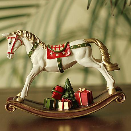 【小】美式鄉村田園家居飾品樹脂擺件 搖晃的彩色木馬