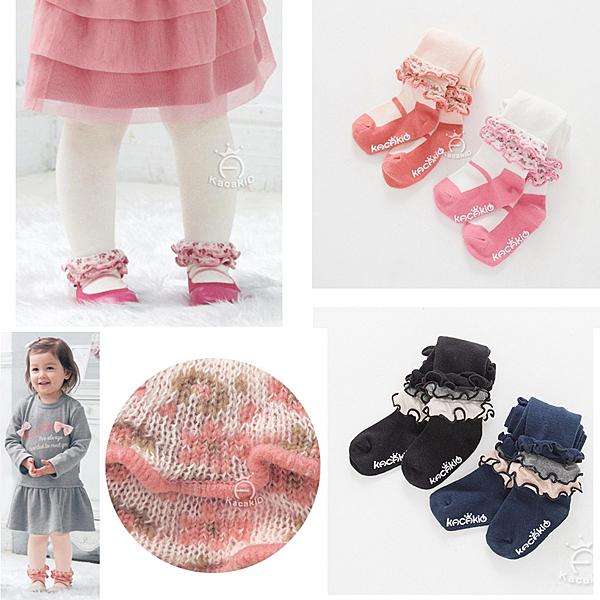 針織荷葉可愛褲襪 有字體防滑膠 橘魔法Baby magic 兒童褲襪 童裝 女童 小童