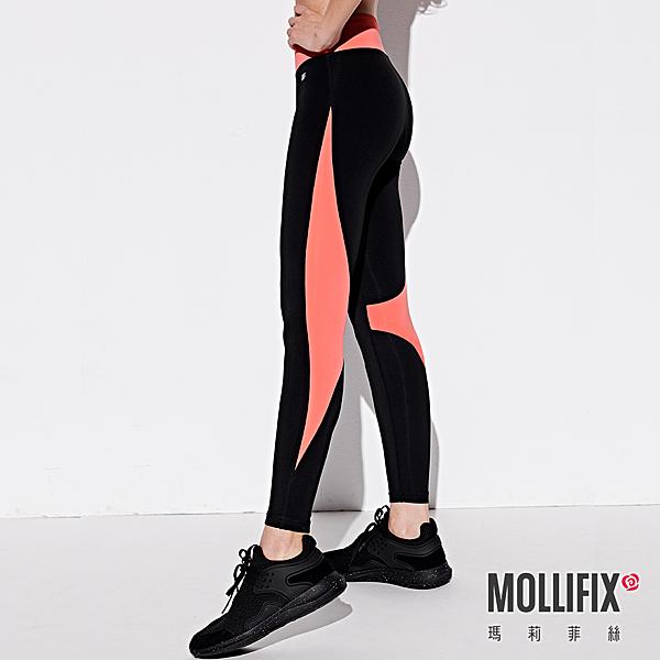 Mollifix 瑪莉菲絲 流動拼接動塑褲 黑+橘粉