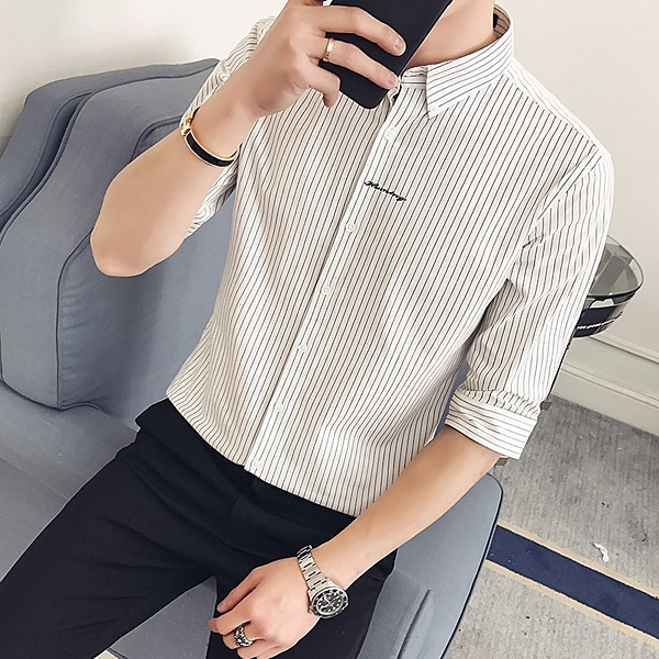 FINDSENSE H1 2018 夏季 新款 小清新條紋 休閒 七分袖 襯衫