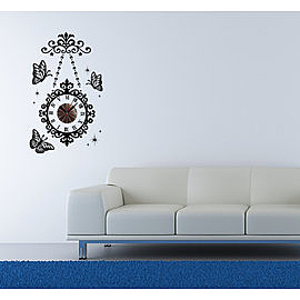 【收藏天地】RoomDeco*創意時鐘壁貼家飾-蝴蝶吊鐘 /掛鐘 時鐘貼 居家 生活用品 時鐘 禮物