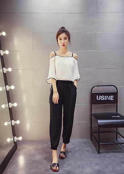 找到自己 G5 韓國時尚 露肩 吊帶 中袖 雪紡衫 撞色 顯瘦 寬鬆 上衣