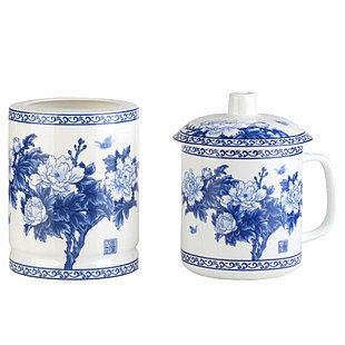 富貴喜事兩件套 青花瓷茶杯