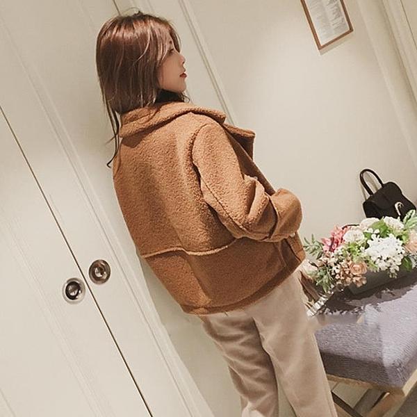 羊羔毛衣外套女冬季秋裝新品正韓學生加厚棒球服短版矮個子夾克飛行服外套推薦