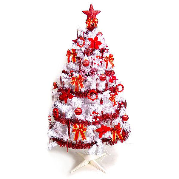 摩達客 台製 6呎 / 6尺(180cm)豪華版夢幻白色聖誕樹 (純紅色系配件組)(不含燈)(本島免運費)