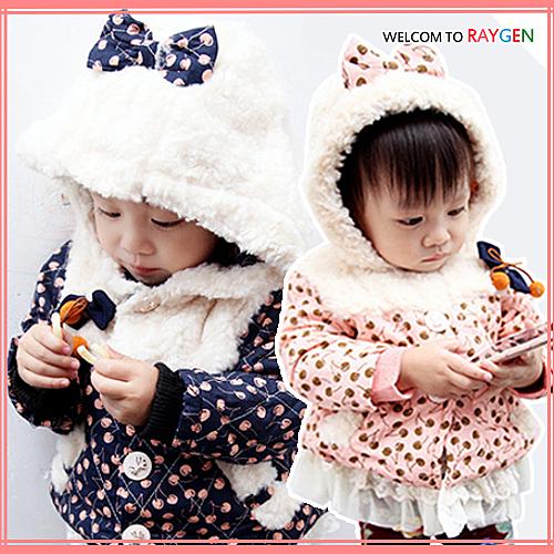 童裝 時尚女童加絨拼接小櫻桃蕾絲裙襬棉衣 外套