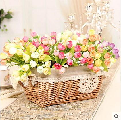 F0741 小玫瑰花苞仿真花束裝飾花假花絹花 田園QQ玫 春色系小茶玫(1束─約15朵)