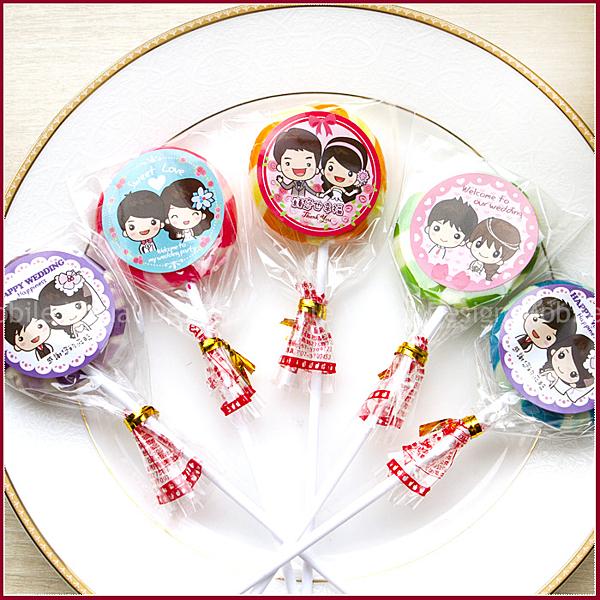 多彩水果棒棒糖(附贈婚禮貼紙)-婚禮小物/送客喜糖/二次進場/結婚用糖果/candybar佈置