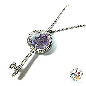 紫水晶能量鑽石之鑰 項鍊 51 公分【十方佛教文物】