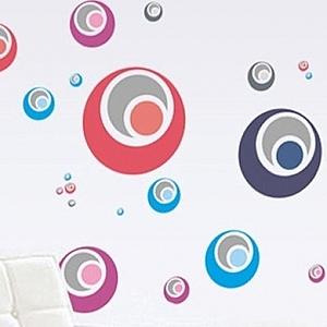 創意無痕壁貼 四色圈圈 60x90cm