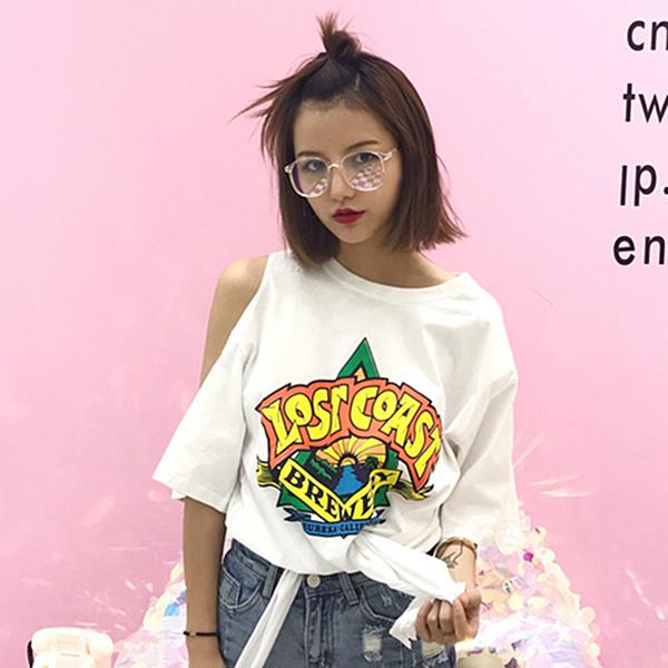 [超豐國際]夏裝復古鏤空露肩卡通印花寬松短袖T恤潮 百搭系帶1入