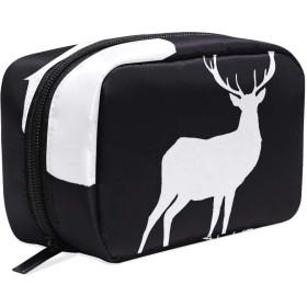 化粧ポーチ コスメポーチ 化粧品 かわいい レディース おしゃれ Jiemeil 耐久性 大容量 人気 機能的 化粧 旅行 出張 通勤 軽量 高校生 White Deer On Black Background 鹿
