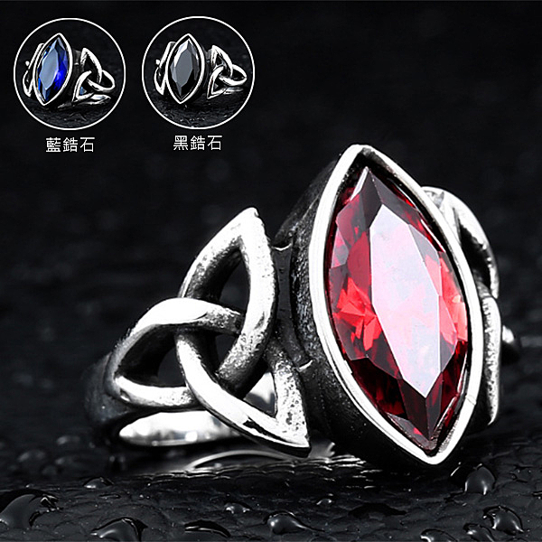 《 QBOX 》FASHION 飾品【R10BR8-269】精緻復古生命之石橄欖形鋯石鑄造鈦鋼戒指/戒環