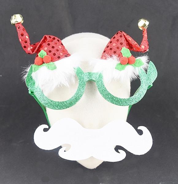 節慶王【X419577】亮片聖誕帽造型眼鏡,聖誕節/派對/尾牙/表演/春酒/道具/造型眼鏡/慶生/佈置