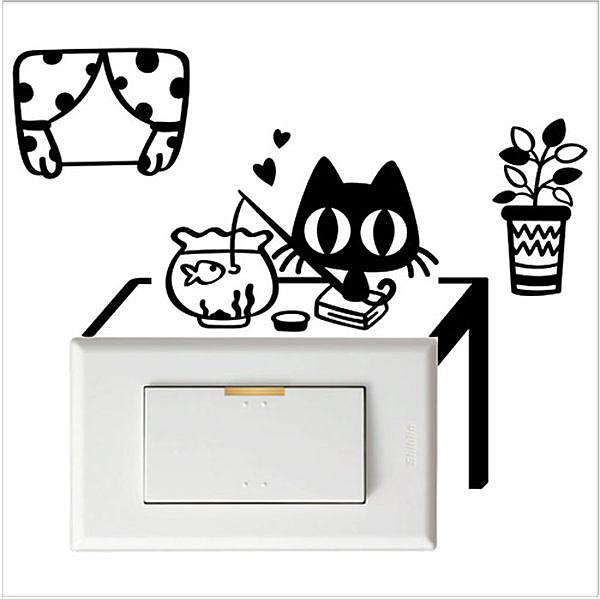【開關小壁貼】魚缸貓 # 壁貼 防水貼紙 汽機車貼紙 10.3cm x 10.4cm