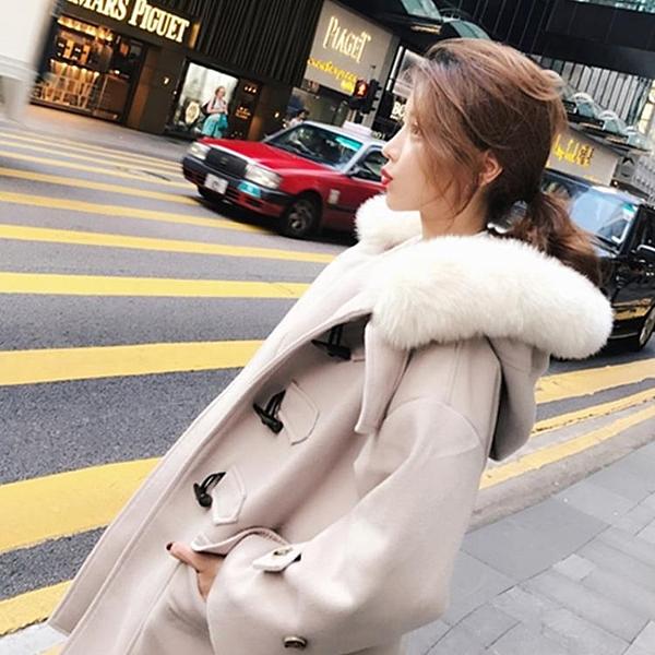 長版大衣風衣牛角扣大衣女中長版加厚正韓 年流行大衣女新品毛呢小外套冬季推薦