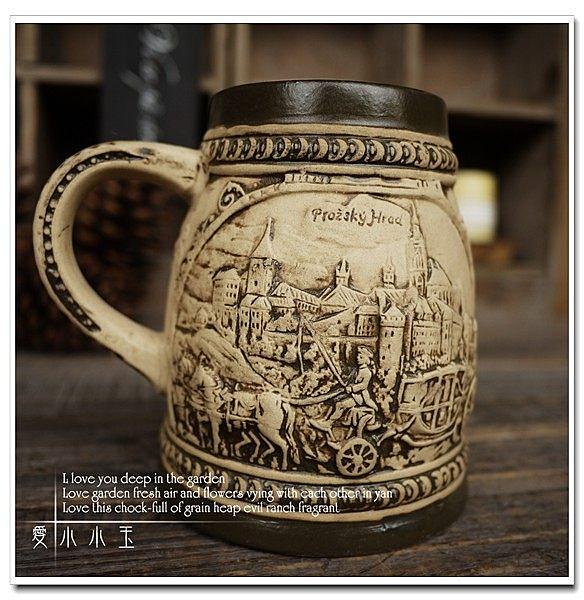 【布拉格的馬車】陶瓷德國啤酒杯創意