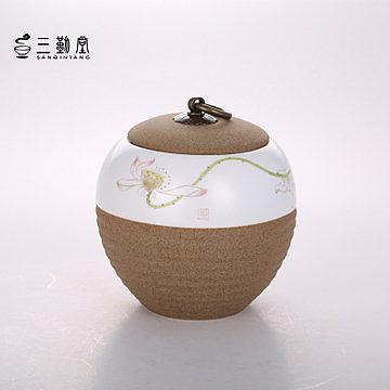 陶泥手繪荷花 茶葉盒